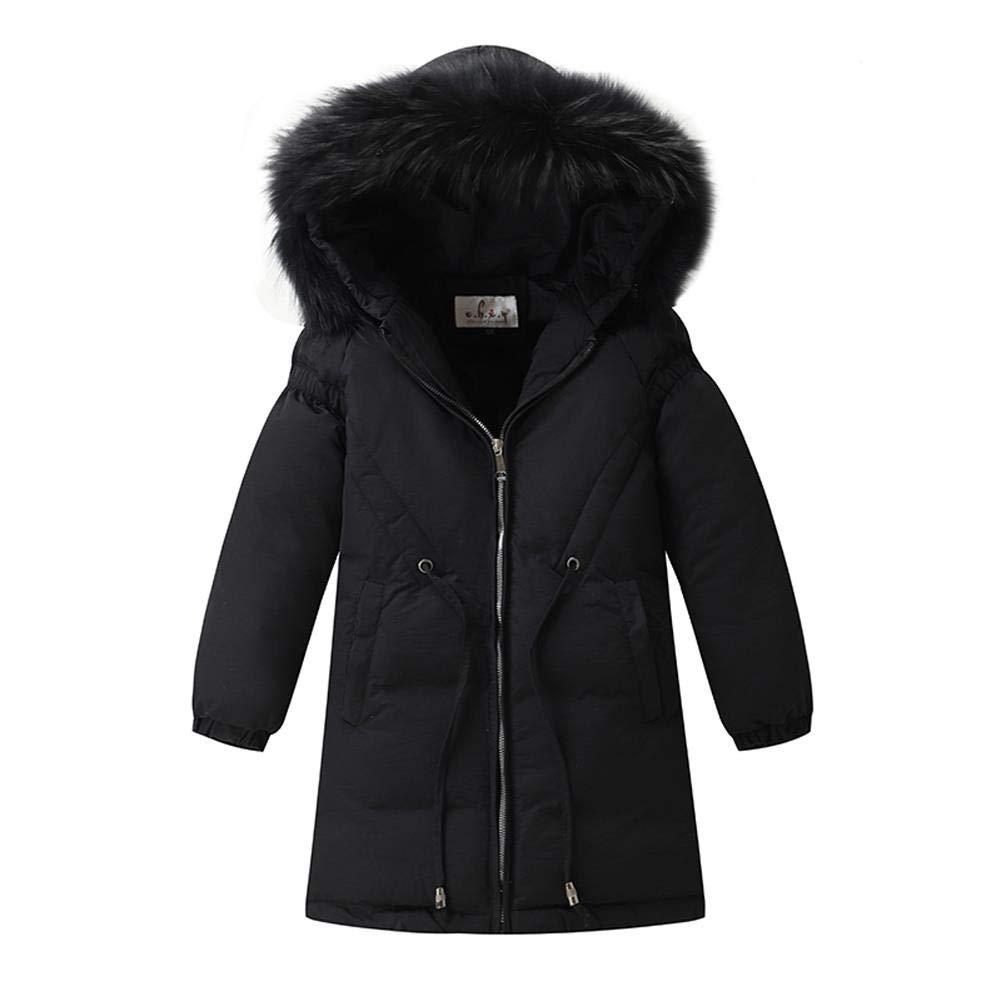 HOTIAN Girls Winter Down Coat with Fur Hood Long Puffer Jacket Windproof Overcoat