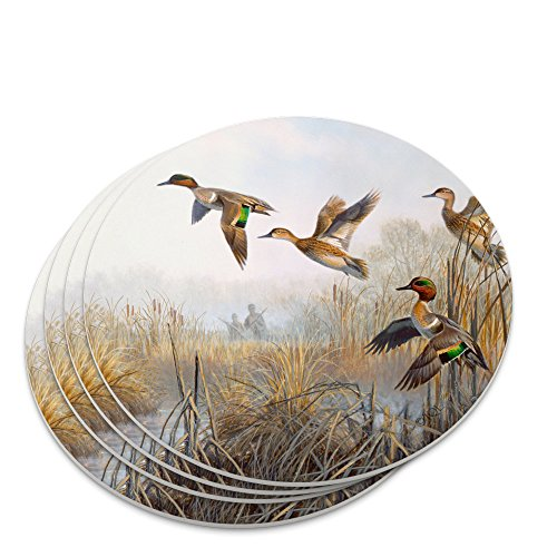 Green-Winged Teal Ducks Taking Flight Hunters Hunting Novelty Coaster Set
