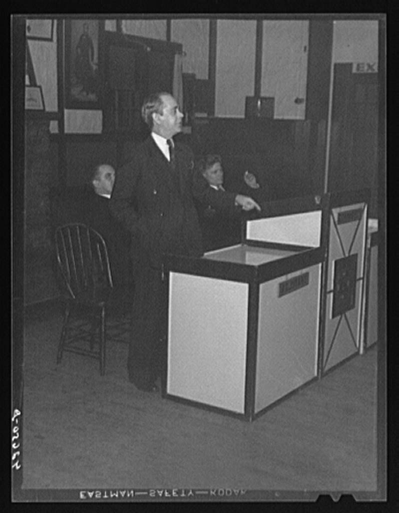 Reproduced Photo of Mr. John Green, president of IUMSWA Industrial Union of Marine and Shipbuilding Workers of America, speaking before a union meeting in Quincy, Massachusetts 1940 Delano C Jack 30a