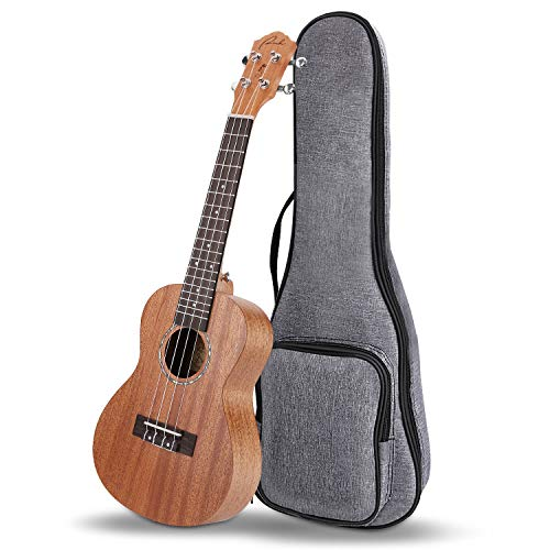 Mahogony Fabric - Concert Ukulele Ranch Mahogany Solid Top Ukuleles 23 inch Professional Wooden ukelele Upgraded Instrument with Free Online 12 Lessons and Gig Bag - Small Hawaiian Guitar - Natural