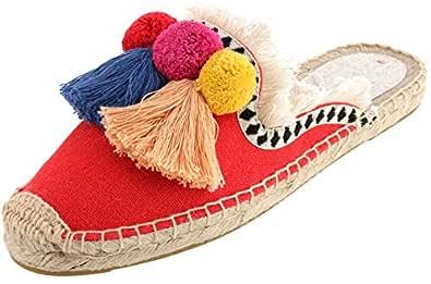 U-lite Women's Spring Summer Tassel & Fluffy Ball Canvas Mule Shoes Espadrilles Slides Red Size: 5