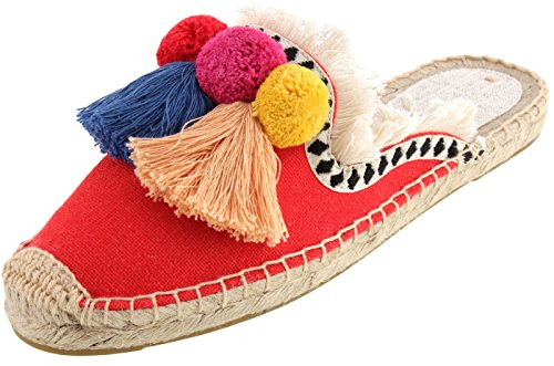 Espadrille Red Canvas - U-lite Women's Comfort Red Tassel & Fluffy Ball Embellishment Canvas Mule Shoes Espadrilles 7