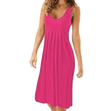 SANFASHION Bekleidung Vestido - Trapecio o Corte en A - Sin Mangas - para Mujer Rosa 38 EU: Amazon.es: Ropa y accesorios