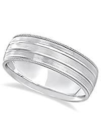 Men's Comfort Fit Satin Finish Carved Wide Wedding Band Ring in Palladium (7mm)