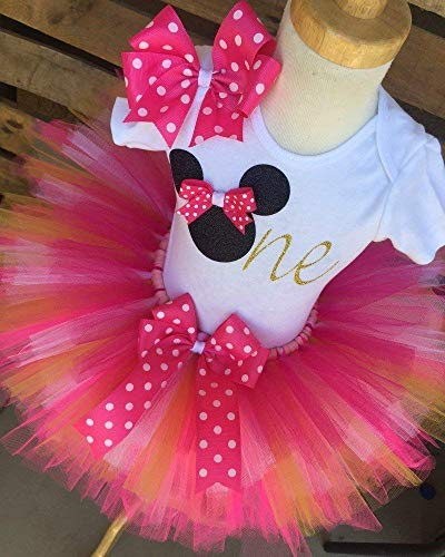 Minnie Mouse Birthday Tutu Outfit Set Dress Shirt First Birthday 1st Pink and Gold -