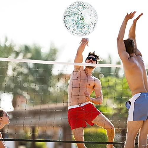 VGOODALL Aufblasbare Schwimmreifen, 1 Größer Glitzer Schwimmring mit 1 Glitzer Wasserball für Erwachsene Pool Badspielzeug Party Deko Durchmesser 120cm