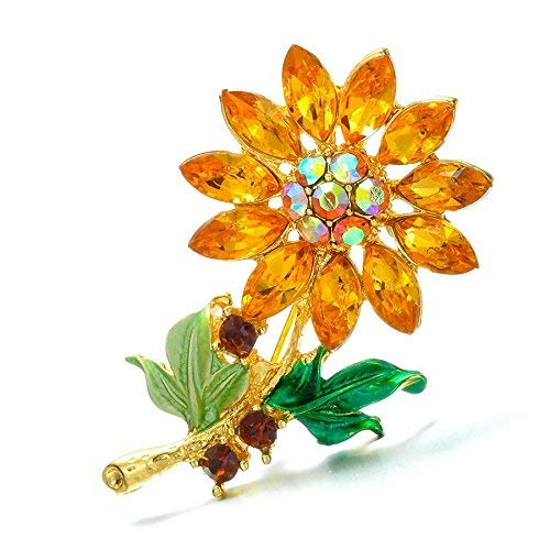 Gold Plated Full Inlay Crystal Sunflower Brooch and Pin -Gift Packaging ()