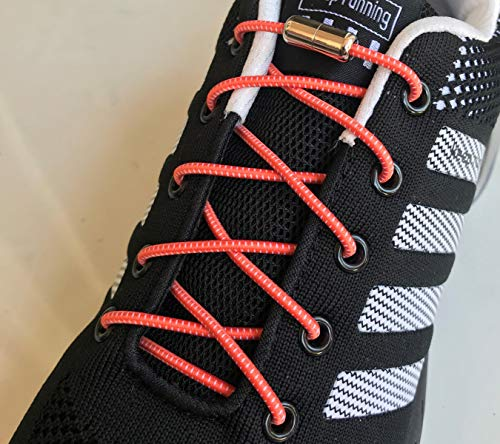 (No tie tie-less elastic round lock shoe laces for kids adults toddlers sneakers canvas boots (1 Pair (2 pcs) metal connectors laces,)