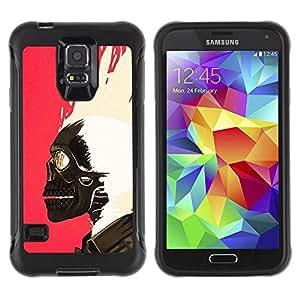 Suave TPU Caso Carcasa de Caucho Funda para Samsung Galaxy S5 SM-G900 / Skull Paint Pink White Biker Pink / STRONG