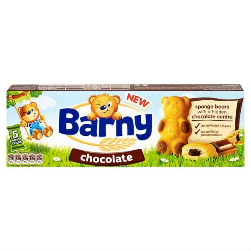 Barny Kids Sponge Bear Biscuits 5 Packs 30G In 2 Flavours Case Of 7 (Chocolate)