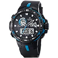 Teens Boys Girls Sport Analog Digital Dual Time Water Resistant Wrist Watches Backlight Alarm Stopwatch (Blue)