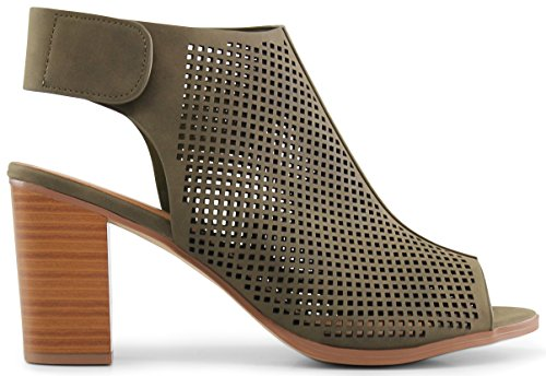 Marco Republic Tuscany Womens Peep Toe Slingback Ankle Strap Perforated Cutout Chunky Block Stacked Heels Sandals Booties Pumps - (Khaki) - 9