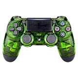 eXtremeRate® Transparent Crystal Clear Green Front Housing Shell Faceplate Cover for Playstation 4 PS4 Slim PS4 Pro Controller (CUH-ZCT2 JDM-040 JDM-050 JDM-055)