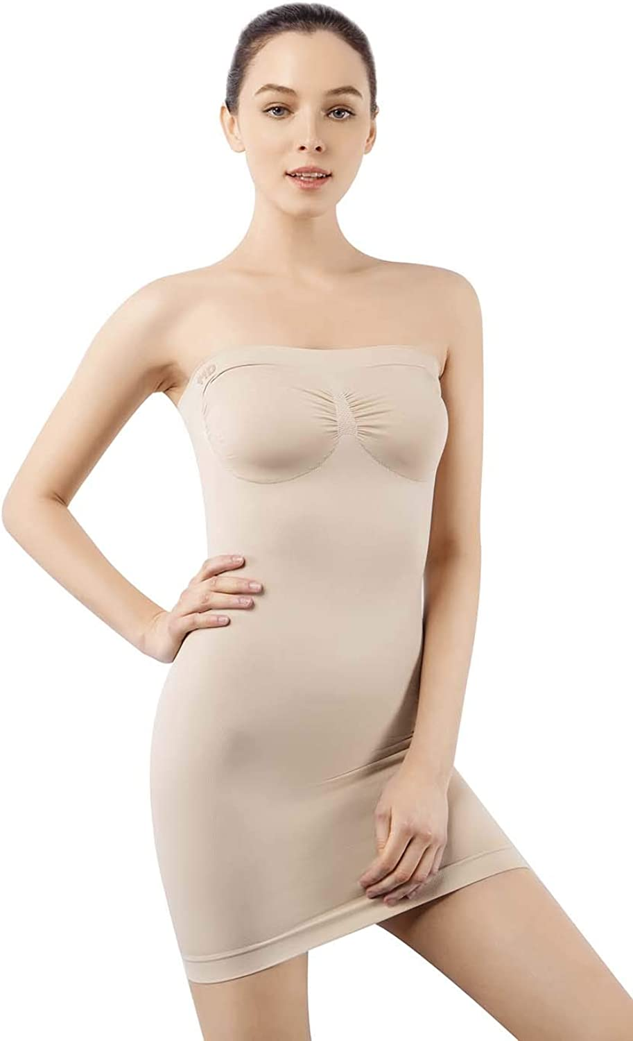 +MD Women's Strapless Shaperwear Full Body Slip Seamless Targeted Firm Tummy Control Slip Under Dresses