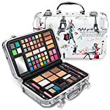 Vokai Makeup Kit Gift Set - Travel Case 41 Eye Shadows 4 Blushes 5 Bronzers 7 Body Glitters 1 Lip Liner Pencil 1 Eye Liner Pencil 2 Lip Gloss Wands 1 Lipstick 5 Concealers 1 Brow Wax 1 Mirror