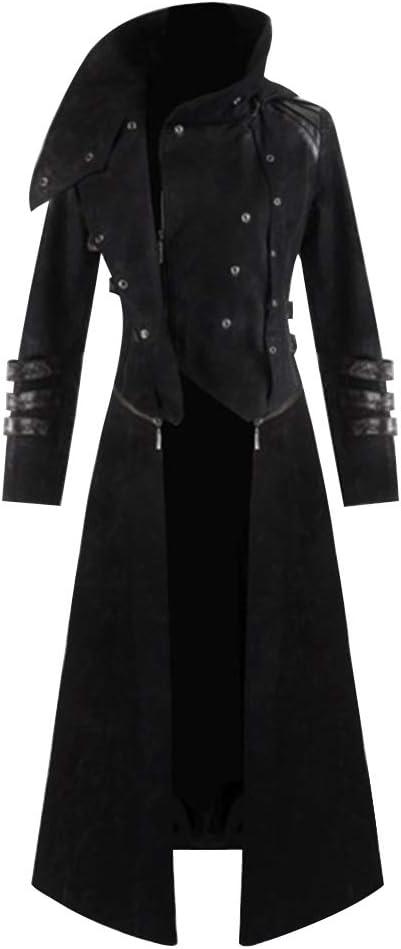 laamei Herren Mantel Gothic Steampunk Cosplay Trench Party