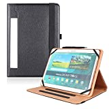 PHARRI Universal Document Card Pocket Case, Stand Folio Case Protective Cover with Multiple Viewing Angles, for 9' 10.1' Touchscreen Tablet, and Free Bonus Stylus Pen - Black