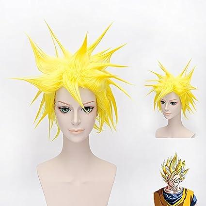 HOOLAZA Peluca mullida corta amarilla 30Cm Dragon Ball Vegetto Gogeta Cosplay peluca