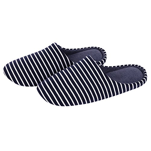 Striped Slippers House Bedroom Home Slippers Rubber Memory Slippers Navy With Foam Shevalues Comfortable Striped Womens Sole Cashmere tqtEawR