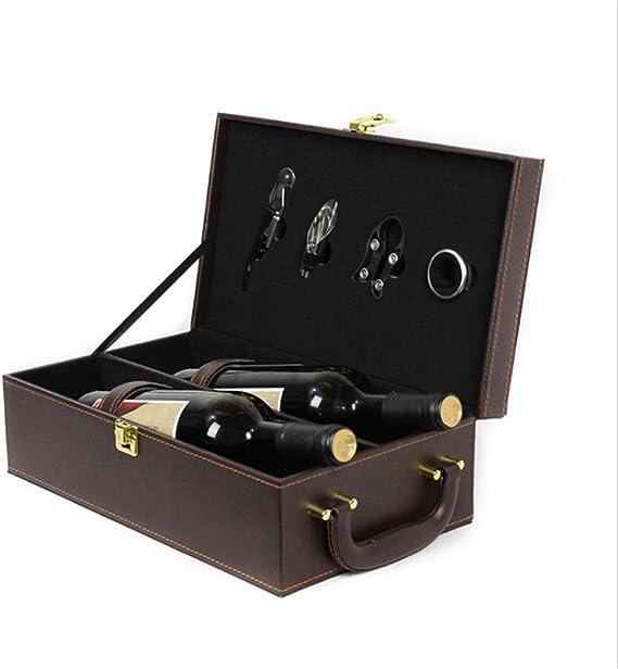 Compra Set de regalo de vino Caja portátil para vino Con asa superior 2 botellas Vino tinto Champán Almacenamiento Caja de embalaje de regalo Estuche para vino de viaje Estuche de cuero