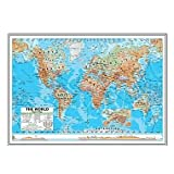 World Advanced Physical Mounted Framed Wall Map Frame Color: Silver