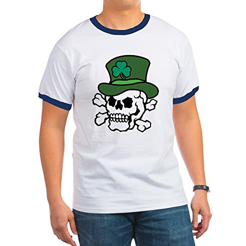 CafePress - Skull Leprechaun - Ringer T-Shirt, 100% Cotton Ringed T-Shirt, Vintage Shirt Navy/White ()