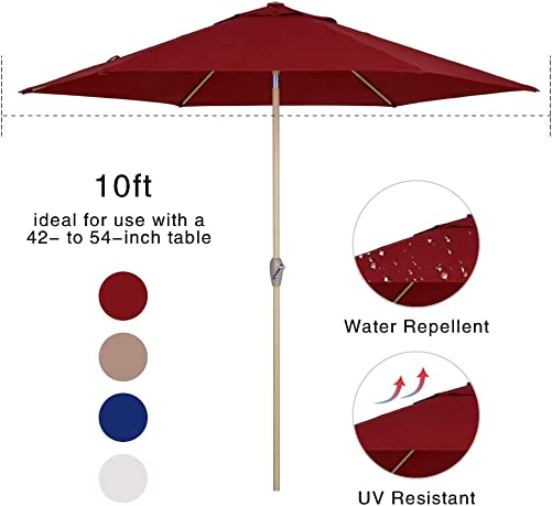Tempera Patio Umbrella 10 Ft Outdoor Garden Table Umbrella with Crank and Auto-Tilt 8 Ribs in 200G Olefin Chili Canopy