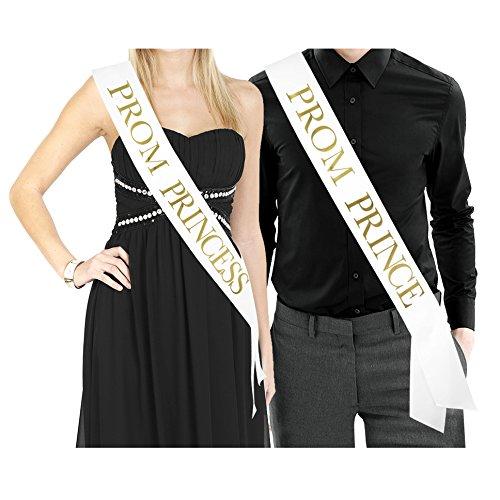PROM PRINCE & PROM PRINCESS Sashes - White Satin Sash/Metallic Gold Print - Prom Decorations School Prom Class of 2018 Prom Sash Prom Formal Supplies -