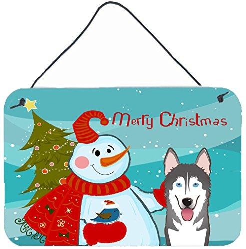 (Caroline's Treasures Snowman with Alaskan Malamute Wall or Door Hanging Prints BB1838DS812, 8HX12W,)