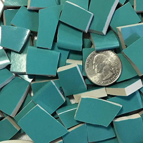 MOSAIC TILE ~ HAND CUT Dish China / Ceramic Pieces ~ Supply for Mosaics Arts & Crafts ~ 100 Turquoise Blue Tiles (T#380) (Ceramic Cut)