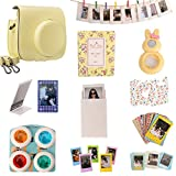 [Fujifilm Instax Mini 8 Classical Camera Case Series] Woodmin 12-in-1 Accessories Bundle Yellow(Mini 8 case/ Photo Bag/ Album/ Frames/ Stickers/ Selfi-Lens/ Filters)
