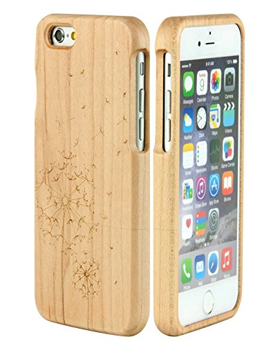 SunSmart Unique Handmade Genuine Natural Wood Wooden Hard bamboo Case Cover for iPhone 6 4.7''(dandelion maple) - Iphone 6 Wood Case Dandelion