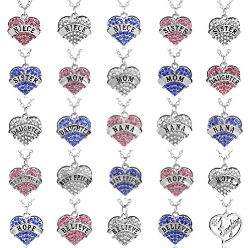 Fun Daisy Multiple Colors Crystal Silver Chain Fashion Family Love Heart Necklace