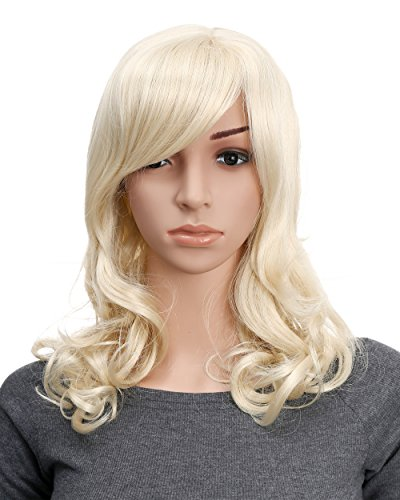 Blonde Curly Costumes Wig (OneDor Full Head Beautiful Long Curly Wave Stunning Wig Charming Curly Costume Wigs with Fringe (613#-Pale Blond))