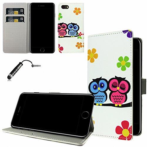 Ownstyle4you - Apple iPhone 7 Etui Wallet Coque Housse PREMIUM Portefeuille Eco Cuir Side OWL COUPLE / Protection Pare-Chocs Goutte Absorption des Chocs + Protecteur d'écran + Pen