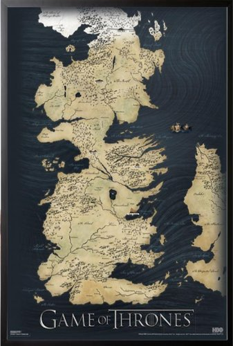Amazon.com: Game Of Thrones - Map Poster 24x36 Wood Framed Poster ...