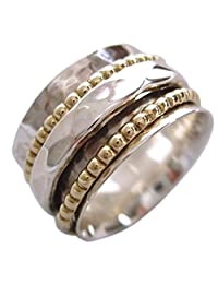 "Energy Stone ""CLARITY"" Ring 1 Hammered 2 Beaded Spinners (Sku# US01)"