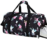 BLUBOON Women Overnight Weekender Bag Ladies Gym Duffel Bag Lightweight Luggage Tote (Black)