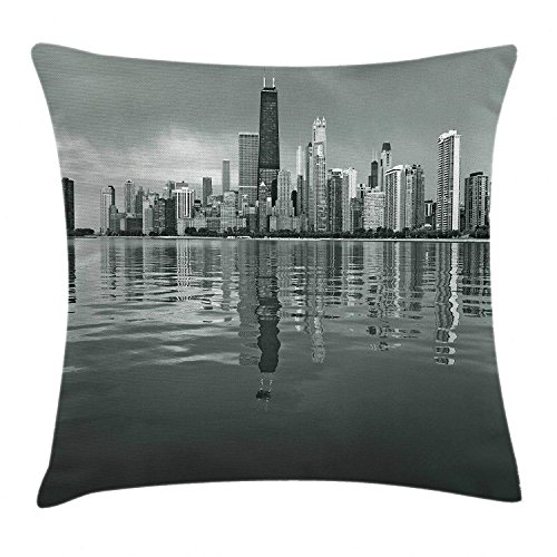 K0k2t0 Chicago Skyline Throw Pillow Cushion Cover, Nostalgic Weathered Lake Michigan Harbor Coastal Town Urban Vintage, Decorative Square Accent Pillow Case, 18 X 18 Inches, Black and White