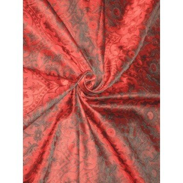 (SILK BROCADE vestment FABRIC Red & Black color 44