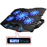 """TopMate TM-3 12-15.6"""" Five Quite Fans LCD Screen 2500RPM Strong Wind Speed Designed Gaming Laptop Cooler"""