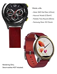 Truffol 20mm Leather Band for Samsung Galaxy Gear S2 Classic, Pebble Time Round, Huawei Watch 2 (Sport) - Quick Release Genuine Leather Watch Strap (Vintage Red)