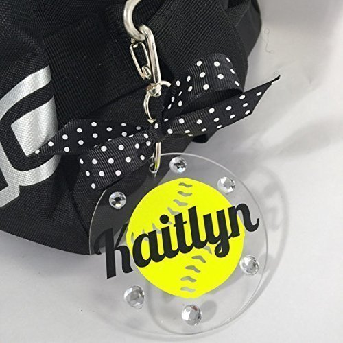 (Softball Neon Yellow Bag Tag on Clear Acrylic Personalized with Your Name and Colors)