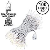 Novelty Lights 100 Light Clear Christmas Wedding Mini String Light Set, White Wire, Indoor/Outdoor UL Listed, 50' Long