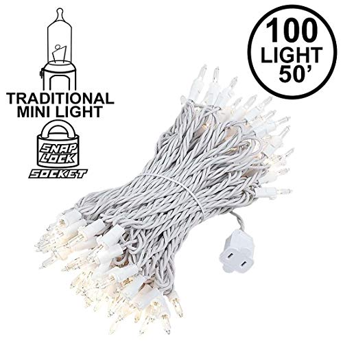 Novelty Lights 100 Light Clear Christmas Mini String Light Set, White Wire, Indoor/Outdoor UL Listed, 50' Long -