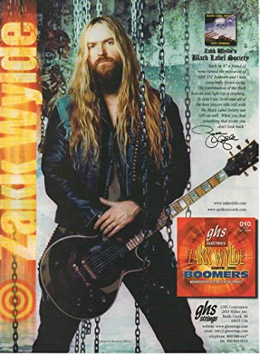 Magazine Print ad: 2002 Zakk Wylde-Black Label Society-for Signature Series GHS Boomers Guitar Strings