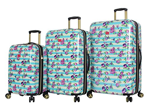 Betsey Johnson Luggage Hardside 3 Piece Set Suitcase With Spinner Wheels (20