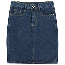chouyatou Women's Basic Five-Pocket Rugged Wear Denim Skirt with Slit