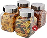 baking soda candy - Plastic Storage Jars With Lids; Milton Food Storage Containers 4 Pack 67 oz. Clear Square Lightweight PET Canisters;Wide-Mouth, Airtight Lids Caps; Large Big Clear Empty Multi-Purpose Jars BPA Free
