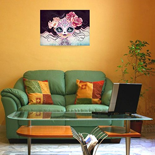 Wall Art Print entitled Camila Huesitos Sugar Skull by SANDRA VARGAS  - Halloween decor